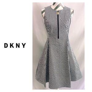 NWT DKNY Logo Zipper Cotton Fit & Flare Dress